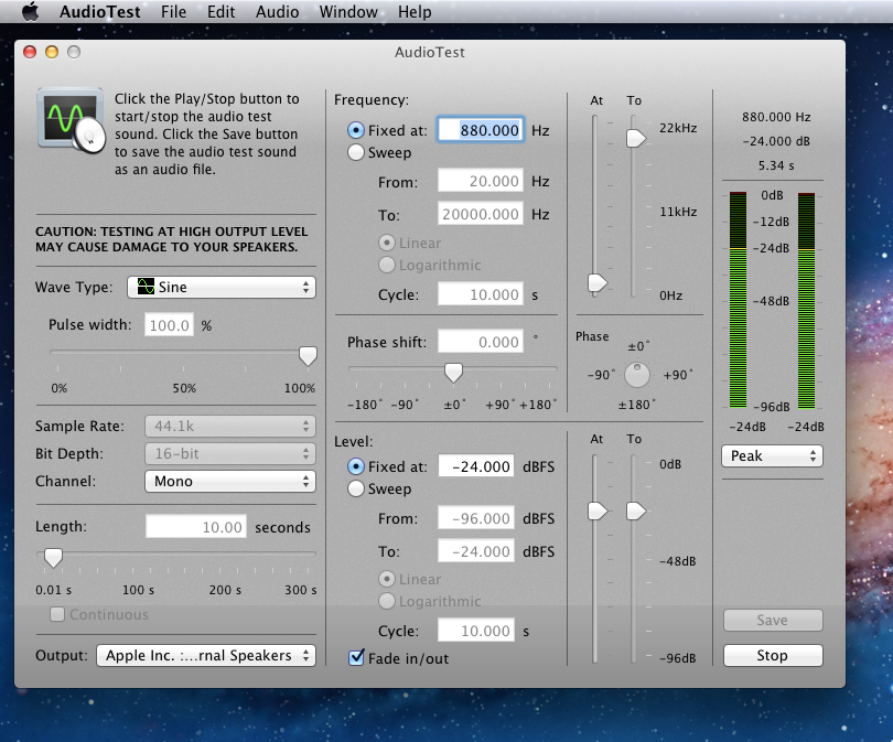 AudioTest for Mac OS X - generates audio test signals