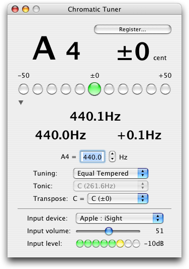 chromatic tuner screenshot