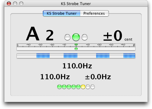 KS Strobe Tuner AU for macOS - 12-note chromatic scale